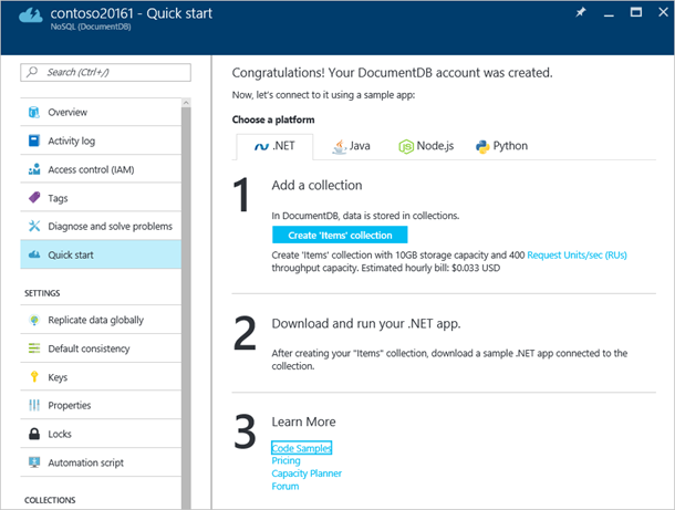 .NET, Java, Node.js, and Python quick start projects for an Azure DocumentDB database account