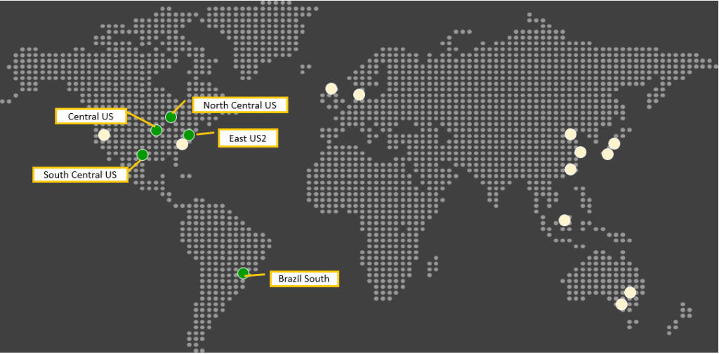 Azure Backup is available in Central US, North Central US, South Central US, East US2, Brazil South