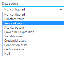 Activity Parameter Configuration DataSources