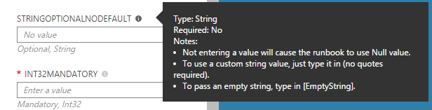 Runbook Input Parameter Help