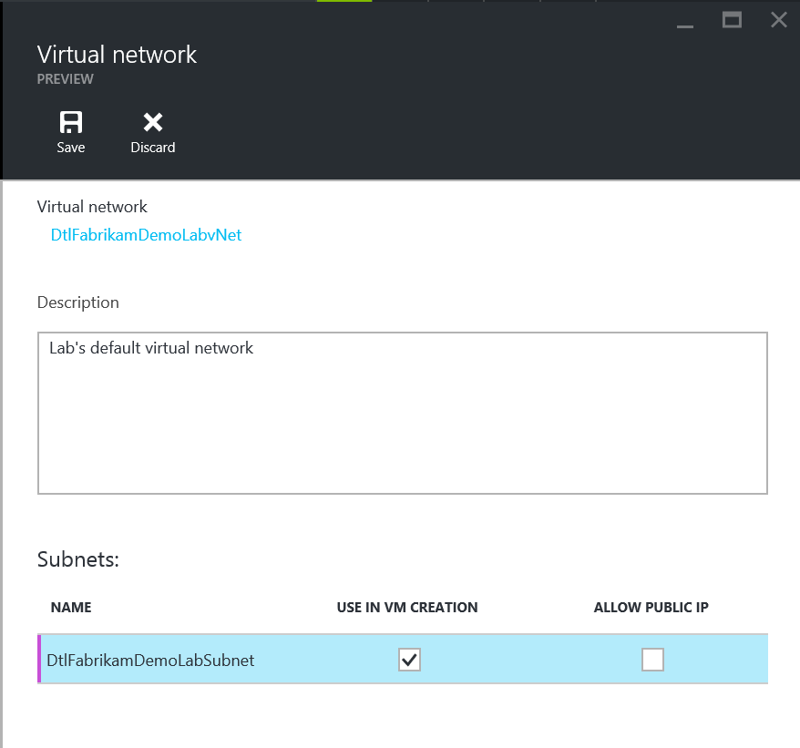 Update subnet policy in Virtual Network settings