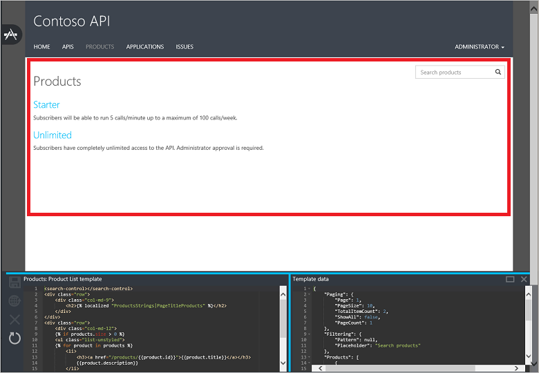 Azure API Management Developer Portal Templates