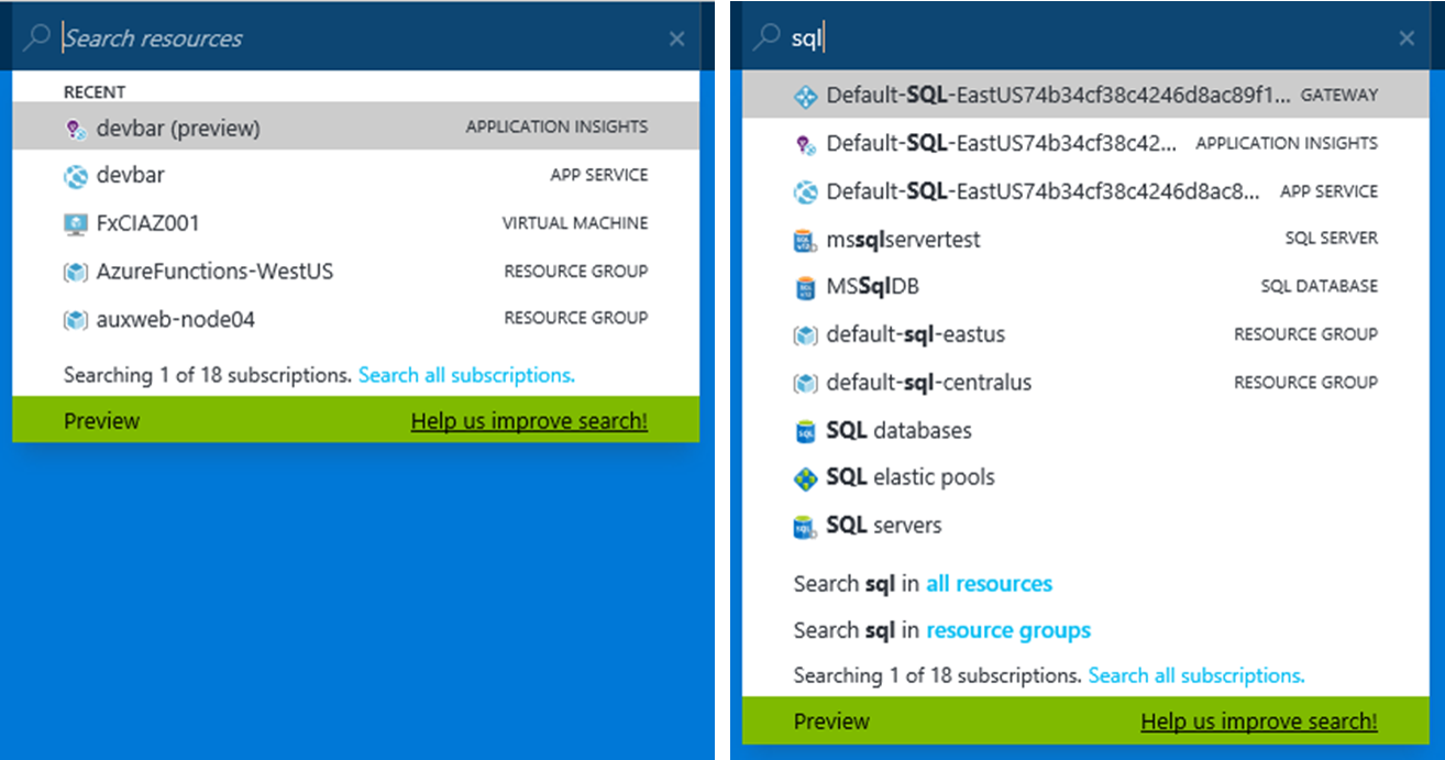 Global search in the Azure portal