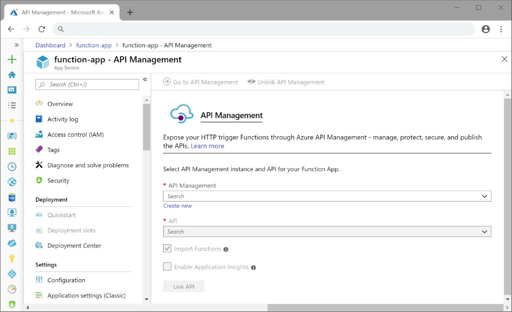 Expose a Function App via API Management