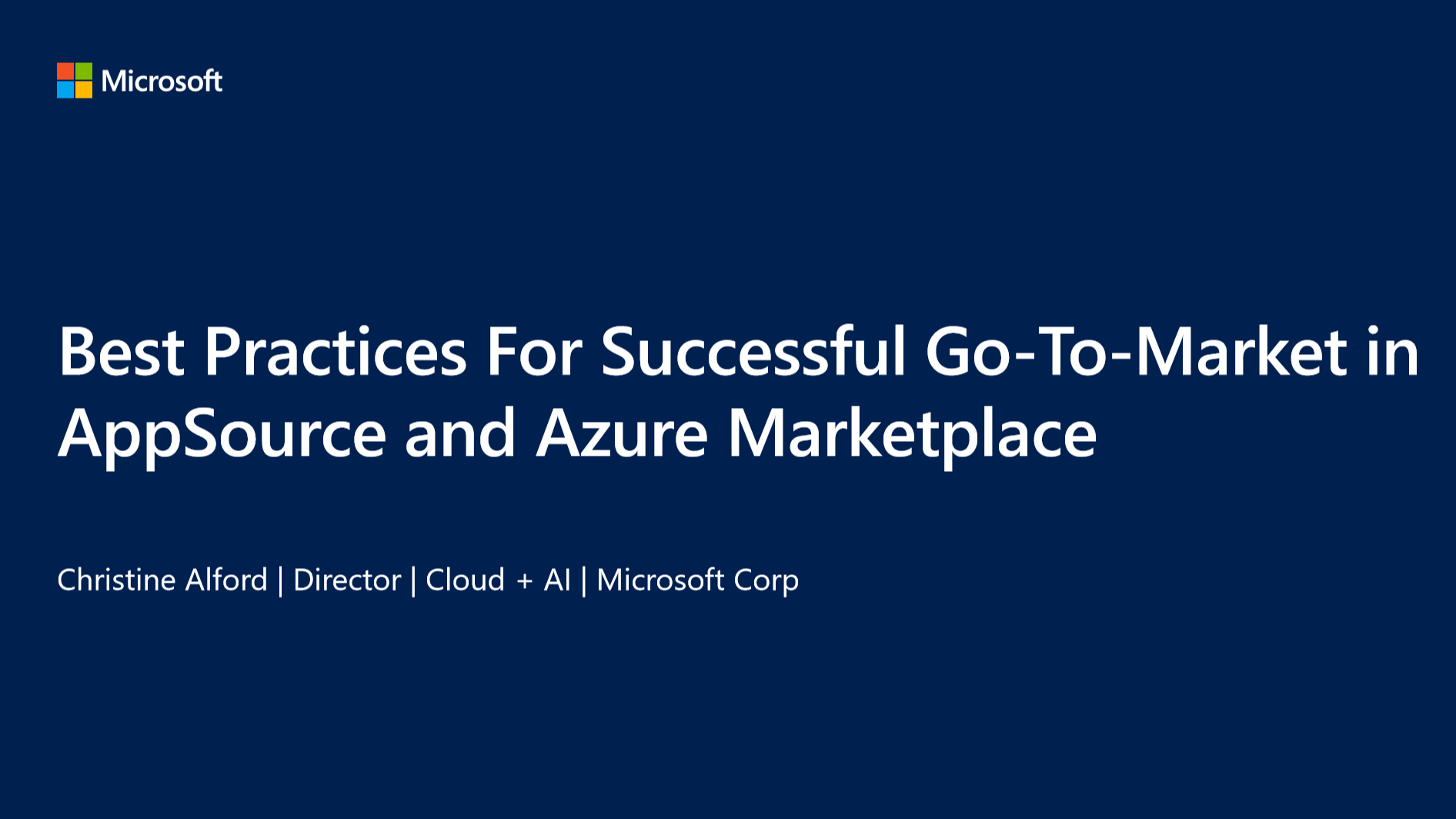Go-To-Market Best Practices in Azure Marketplace and AppSource